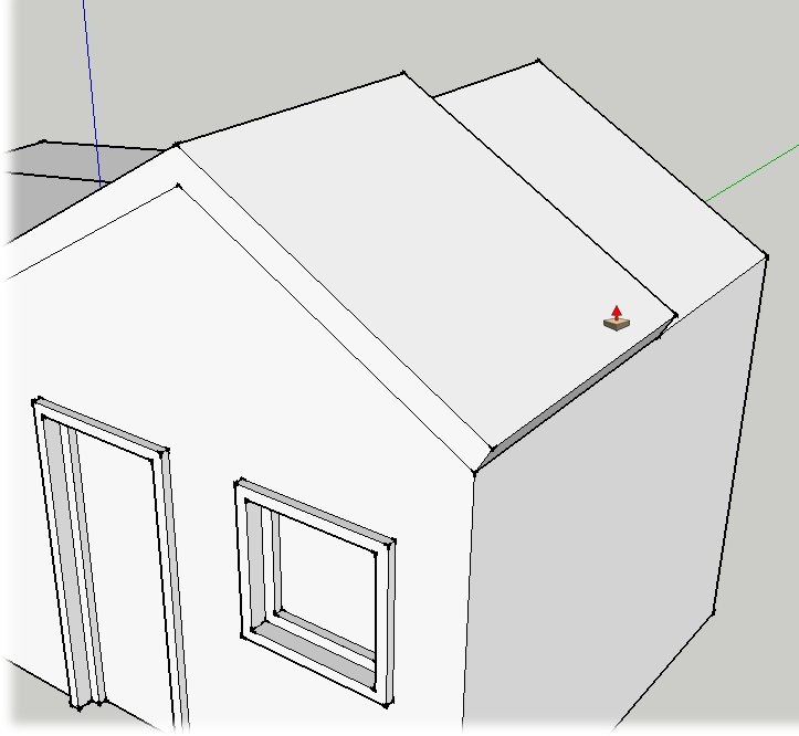 Once the front face is complete, use Push/Pull to extend the new roof to the back wall of the building.