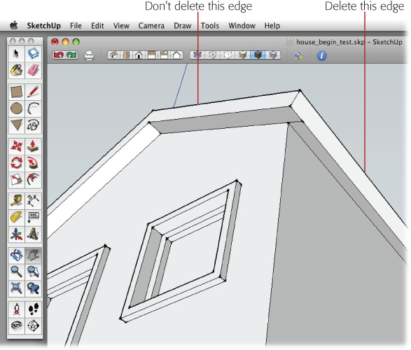 Delete the extra shared edges that you find under the eaves. If you accidentally erase one of the wrong lines and the adjacent faces, use your trusty Undo key (Ctrl+Z or ⌘-Z).