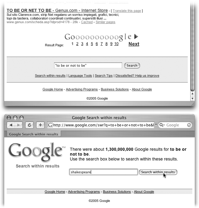 "Top: At the bottom of every results page is a link called ""Search within results."" If you click it, Google offers you a new, blank search box that lets you search for new terms within your results pages only.Bottom: Enter your new search term here, and then press Enter or click ""Search within results"" to have Google narrow down your search."