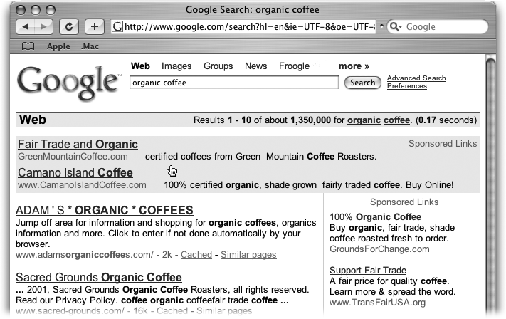 Across the very top is the search box with your query, plus the familiar links from the Google home page. You can change your query by clicking in the box and adding more terms or by deleting what's there and running a new search. Under that is the summary bar—and sometimes ads.
