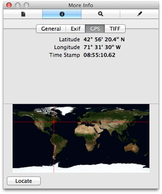 GPS coordinates in Preview's Inspector