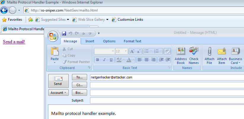 Mailto:// link launching outlook.exe