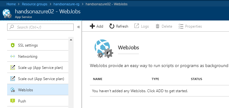 Deploying a WebJob in the Azure Portal - Hands-On Azure for