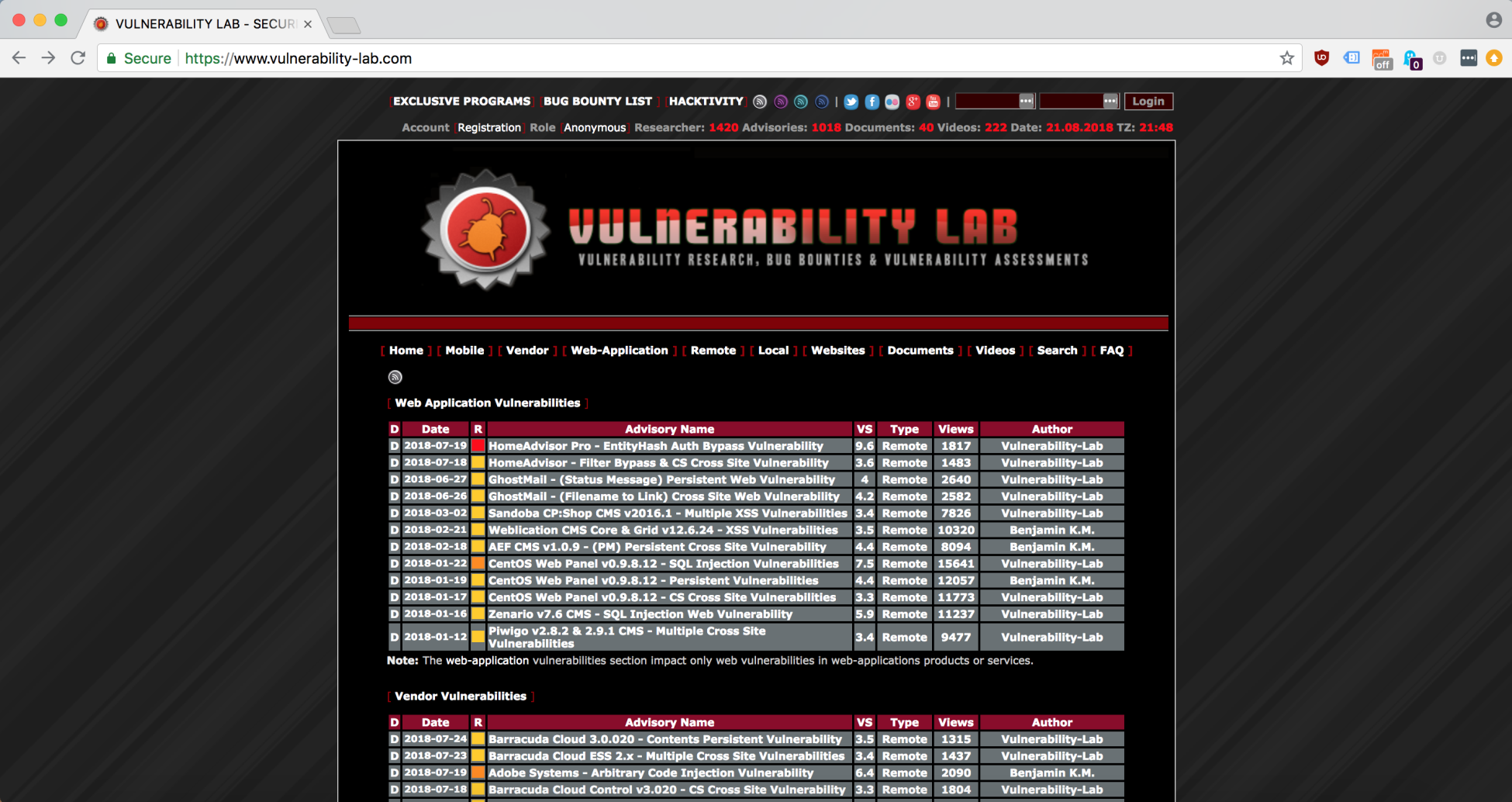 Vulnerability Lab Archive - Hands-On Bug Hunting for