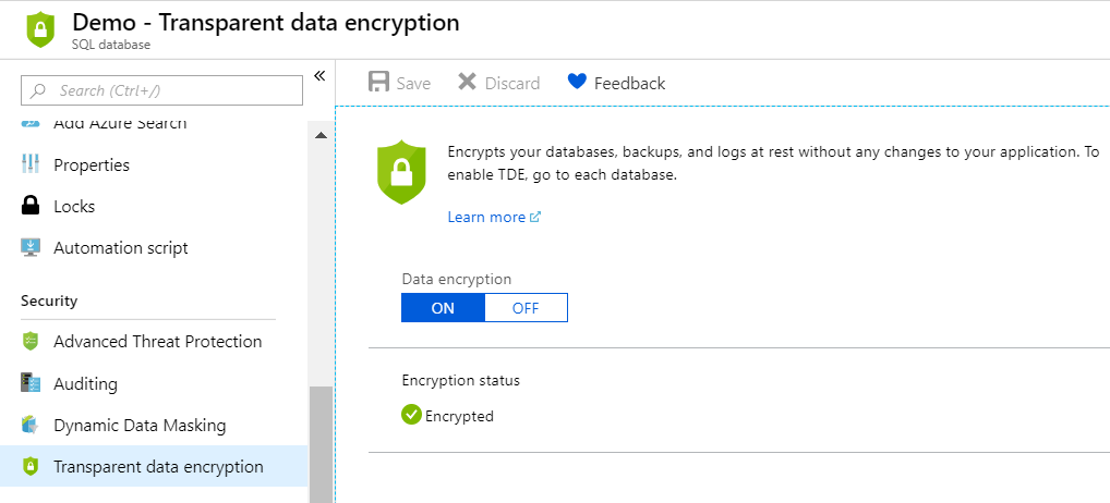 Encrypting databases - Hands-On Cloud Administration in Azure [Book]