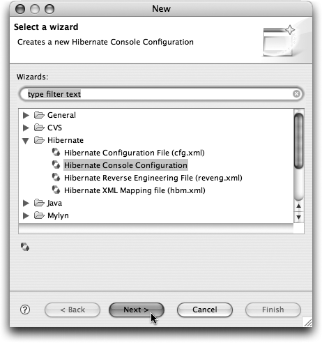 New Eclipse wizards offered by the Hibernate Tools