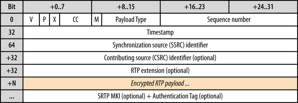 SRTP header (12 bytes + payload and optional fields)