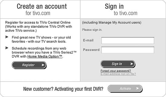 Logging in to TiVo Central Online