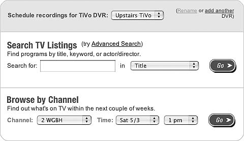 Scheduling a recording through TiVo Central Online