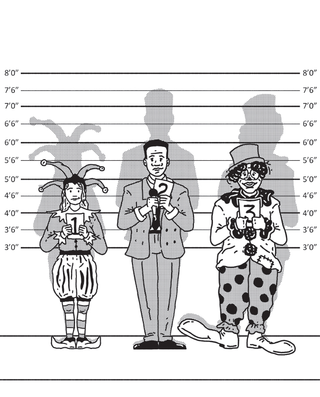 An illustration shows three people standing as per their height while holding number cards 1, 2, and 3. 1 for the smallest in height and 3 for the biggest in height.