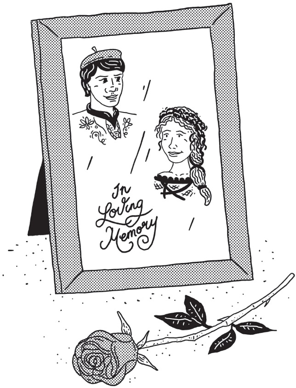 An illustration shows a rose kept beside a photo frame with photo of a man and a woman and text written below 'in loving memory'.