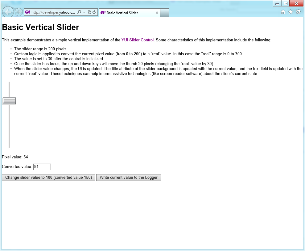 A slider component for YUI (Yahoo! User Interface) library version 3.5