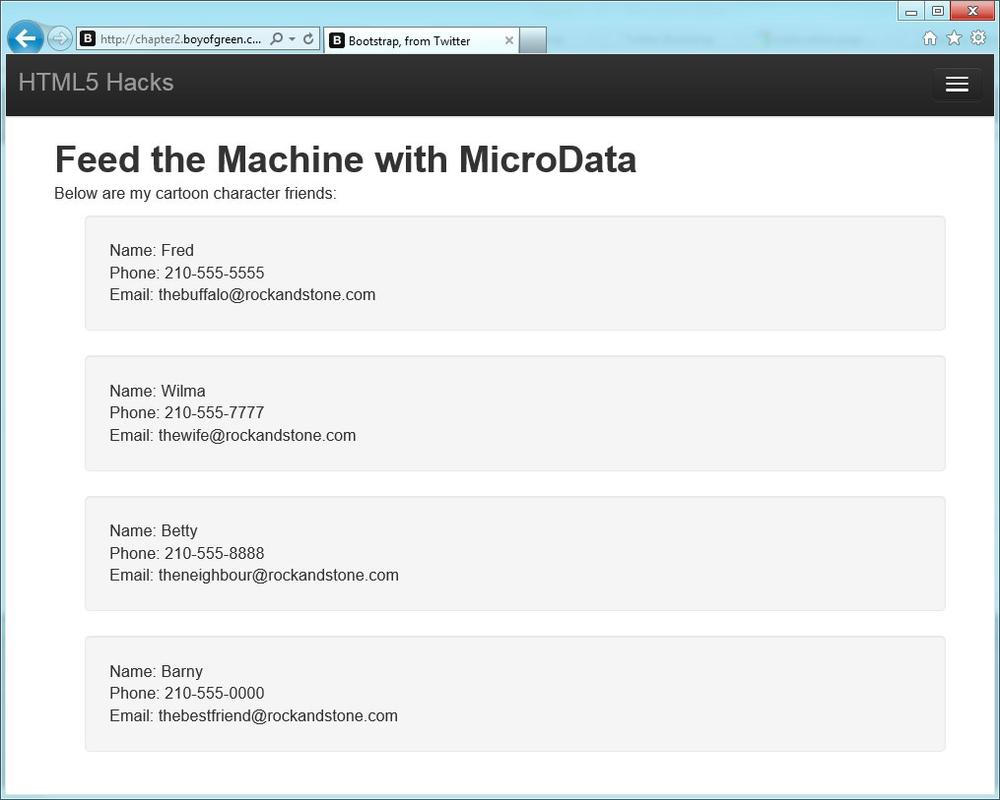 Adding microdata to the page, which does not change the view for users