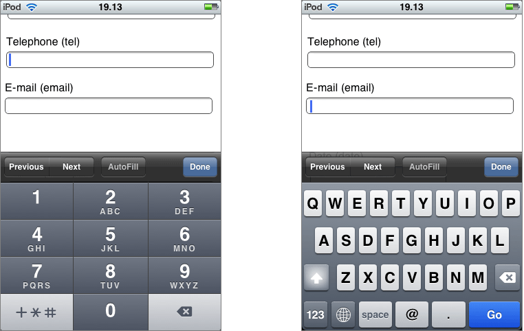 Input type mobile html5
