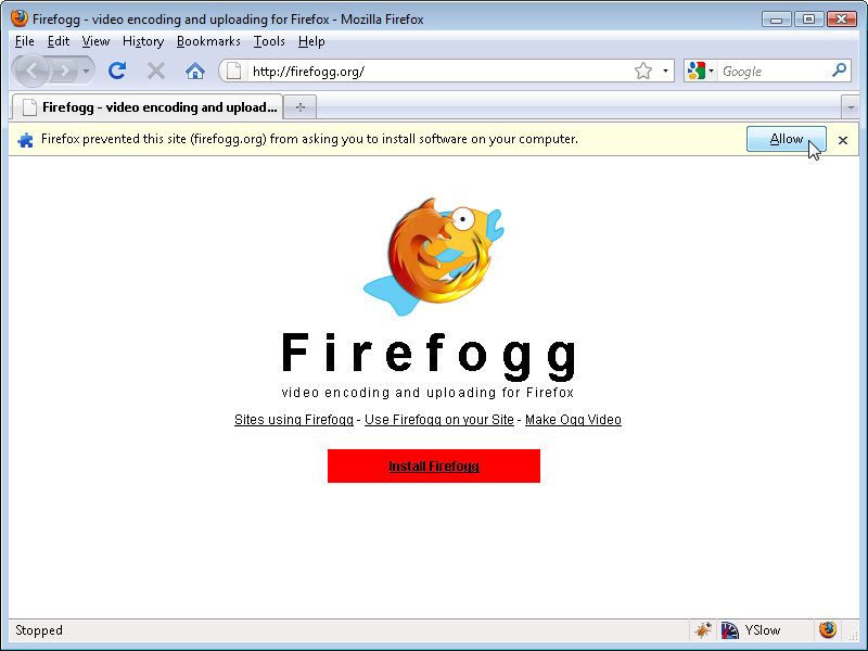 Allow Firefogg to install