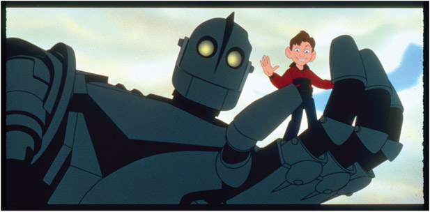 FIGURE 1.1 2D character interacting with a 3D character, The Iron Giant