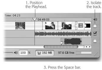 "A view of the right end of the Timeline Viewer. Drag the Playhead so that the vertical line beneath it strikes the piece of sound you want to listen to. Then turn off the track checkboxes to isolate the track you want. Press the Space bar to begin listening.Hint: If you've turned on ""Enable Timeline snapping"" in iMovie → Preferences, the Playhead snaps neatly and conveniently against the beginnings and ends of audio clips (and bookmarks, chapter markers, and video clips) when you drag it. In fact, it even snaps against bursts of sound within an audio clip, which helps you find the start or end of silent bits. (Shiftdrag to override the snapping setting.)"