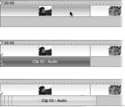 Top: Highlight some camcorder video and choose Advanced → Extract Audio.Middle: The camcorder audio appears as an independent clip, which you can manipulate exactly as though it's any ordinary audio clip.Bottom: You can create a reverb or echo effect by overlaying the same extracted audio several times.