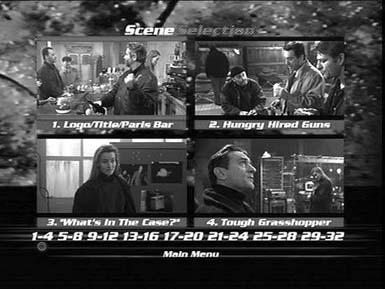 Most DVDs offer something called a scene menu like this one (from the movie Ronin), which lets viewers jump directly to their favorite scenes in the movie. Your DVD scene menus probably won't be quite this elaborate, but you get the idea.