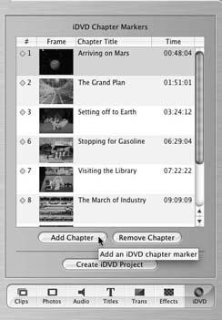 The iDVD palette lets you add, remove, and name chapters—and then publish your iMovies to iDVD. New iMovie chapters are numbered sequentially, as they appear in your movie from left to right. Chapter references appear in your timeline as small yellow diamonds, just above the video track. iMovie can add up to 99 chapters per movie with the iDVD palette.