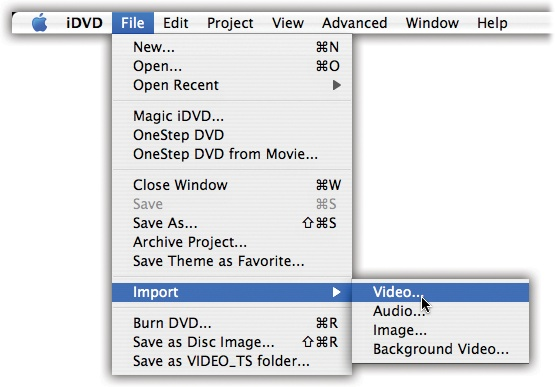 "When you choose File→Import→ Video, the Open File dialog box appears so you can navigate to a movie and select it. (You can't select more than one movie at a time.) When you click Import, iDVD loads the movie and adds it to the ""drawer"" of media files on the right side of the screen (see Figure 18-3 for a close-up of the drawer in action)."