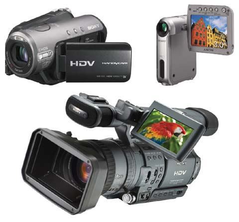 The model lineup changes constantly, and new formats come and go. Here, for example, are three of Sony's digital camcorders.Top left: At its introduction, the world's smallest and least expensive high-definition camcorder: the HC3, complete with widescreen (16:9) flip-out screens.Top right: The PC series represents some of the tiniest MiniDV camcorders you can buy.Bottom: The awesome, three-chip, semi-pro HDTV camcorder known as the HDR-FX1 (not to scale) is a camcorder that Apple calls a perfect companion for iMovie HD.