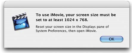 If your monitor is set to 800 x 600 or lower resolution, iMovie won't run.