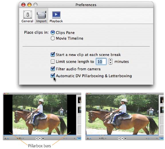 "When ""Automatic DV Pillarboxing & Letterboxing"" is turned on (top), video from a camcorder retains its original shape, even though iMovie may have to pad the screen with horizontal or vertical black bars (lower left) to fit your project dimensions. This requires some processing time after the importing is complete.When this checkbox is turned off, incoming video is instead stretched to fit your project's screen shape.These examples show what happens when standard video is brought into a ""DV Widescreen"" Project."