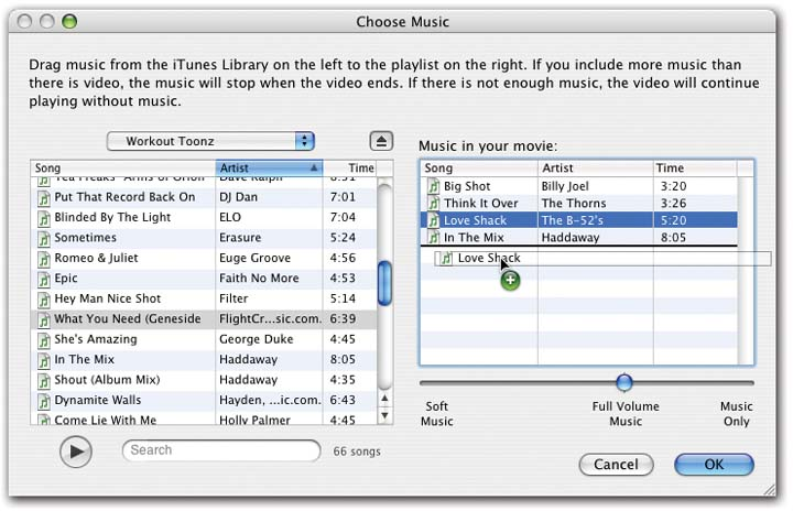 Drag songs from the left-side list (your iTunes collection) to the rightside list (your Magic iMovie soundtrack). Drag them up or down to rearrange them in the right-side list. The volume slider beneath the list lets you control the volume of the music relative to the camcorder audio. At the far-right setting, you hear only the music, which can give your movie a sweet, emotional overtone.