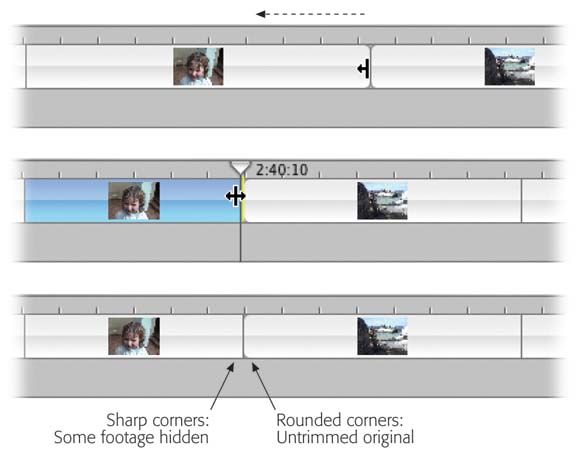 Top and middle: In the Timeline Viewer, you can drag either the leading or trailing edge of a clip inward to shorten it—nondestructively. All subsequent clips slide dutifully to the right or left to accommodate the adjusted clip's new length.Later, in a panic of indecision, you can drag the edge back outward to restore the hidden footage.Bottom: You can tell when a clip is stretched to its full length, because its end has a distinctive roundness.