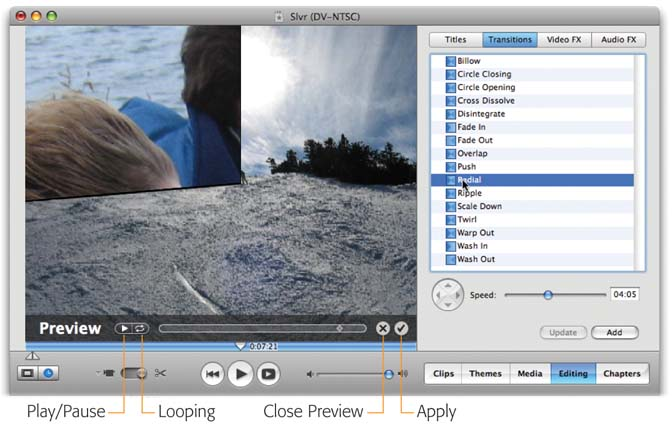 When you click a transition's name, you get to see the new iMovie 6 preview feature in the Monitor window: a full-size, looping preview of the effect. Use the controls shown here, or drag the diamond-shaped scrollbar handle to step through the effect slowly.
