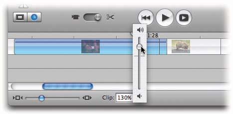 If you set the volume pop-up all the way to 0, you mute the sound completely—for this clip only. If you drag it all the way to the top, you actually boost the volume up to 150%—a terrific way to compensate for weak camcorder microphones.In any case, adjusting the pop-up menu makes the horizontal volume-level line temporarily appear on the selected clips.