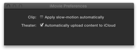 You can get to this box quickly by pressing ⌘-comma, which isn't so hard to learn considering it's also the keystroke that opens the Preferences box in iPhoto, iTunes, GarageBand, and most other Apple and Microsoft programs. What isn't typical, though, is how bare iMovie's preference settings are.
