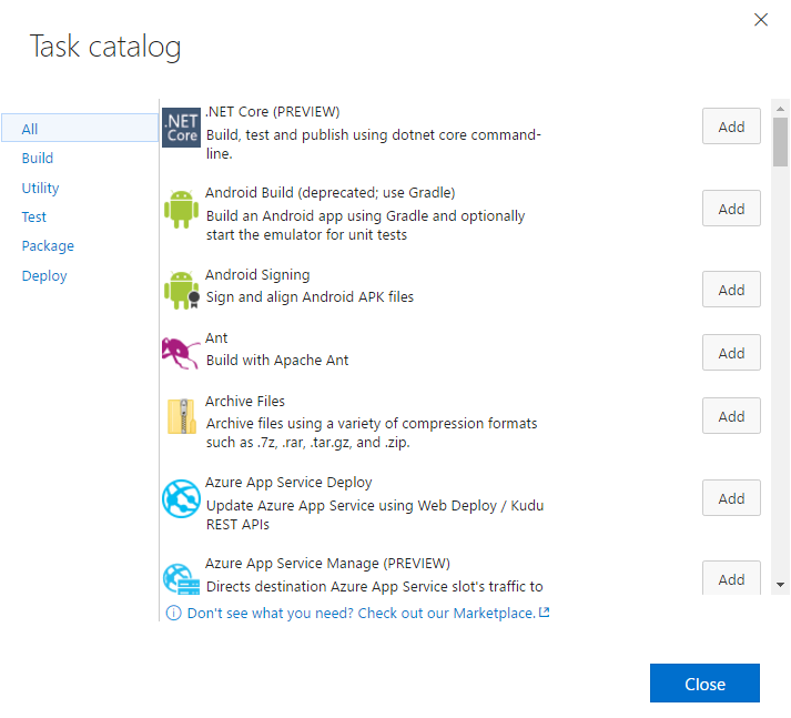 Task catalog and marketplace - Implementing DevOps with