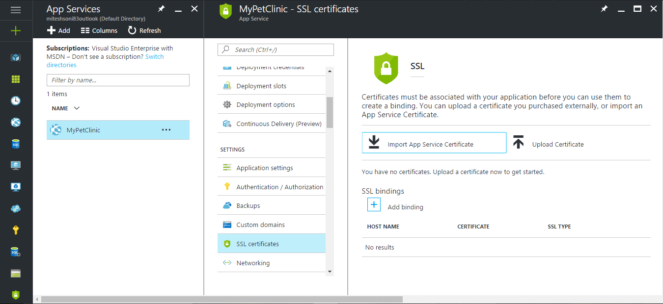Azure Web Apps Ssl Certificates Implementing Devops With Microsoft