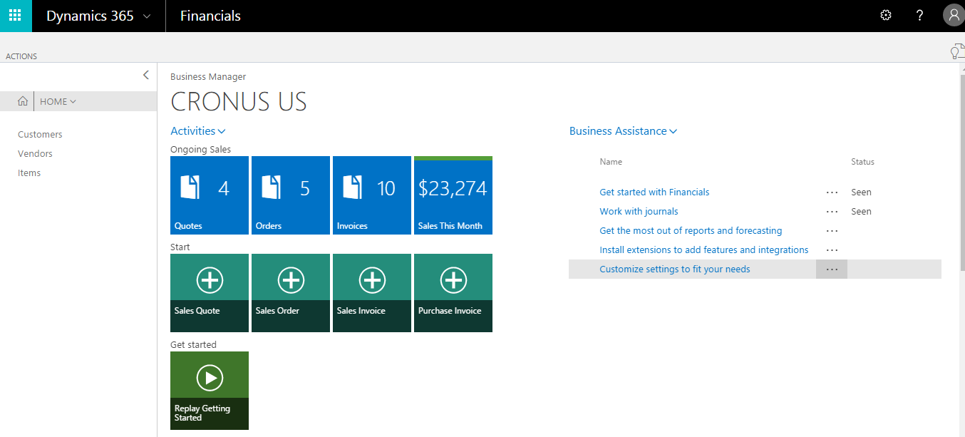 Microsoft Dynamics 365 for Finance and Operations, Business edition