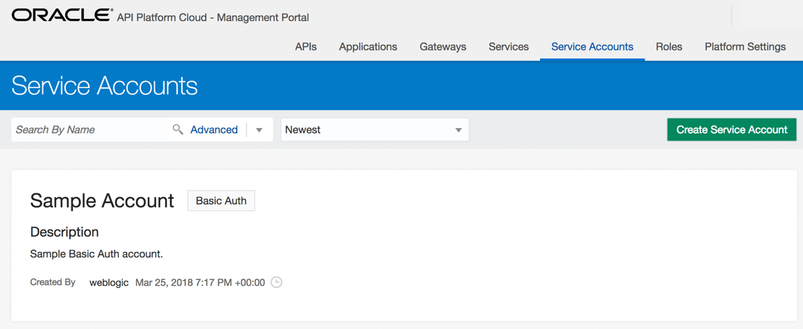 Service accounts page - Implementing Oracle API Platform Cloud