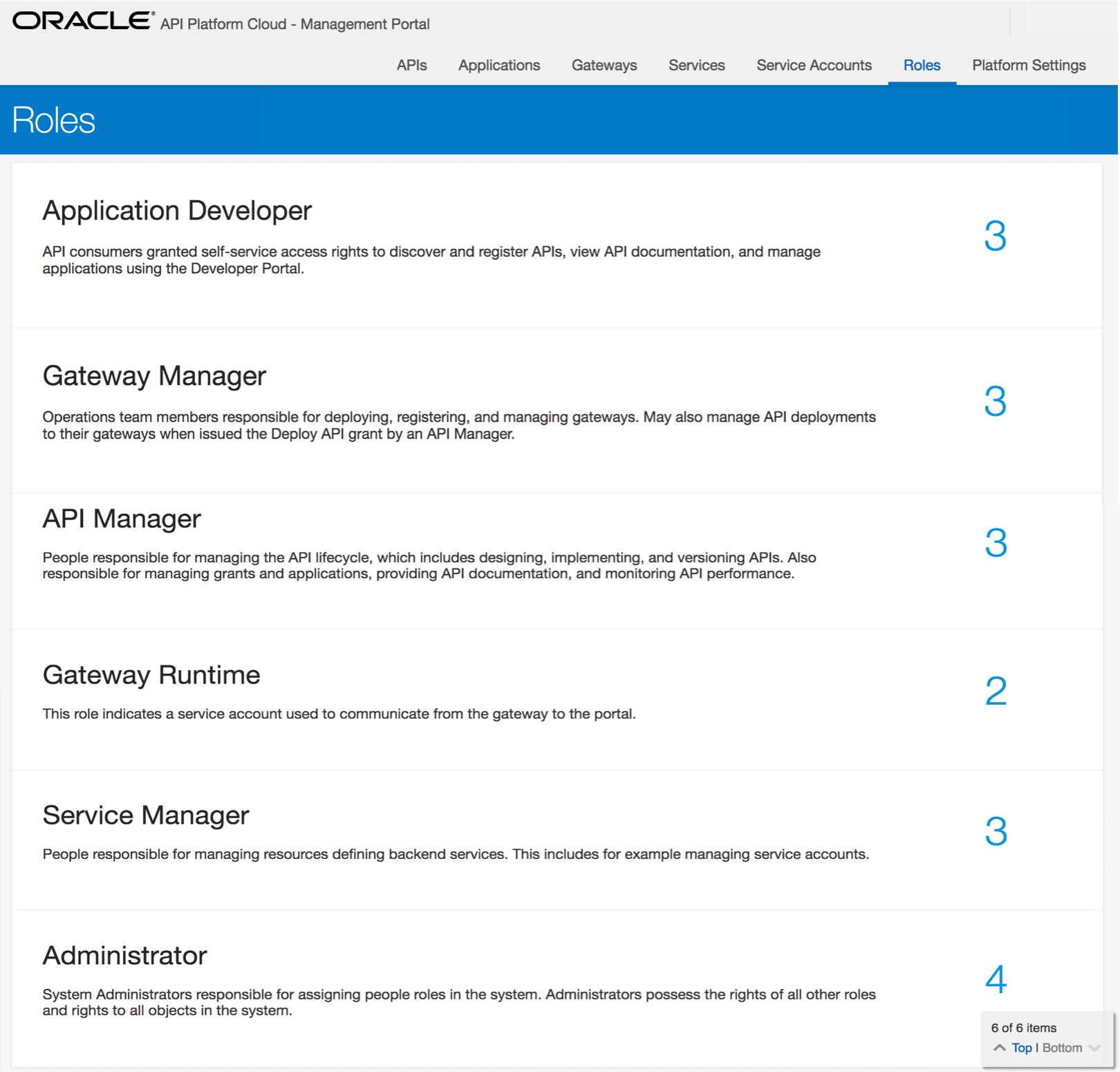 The roles page - Implementing Oracle API Platform Cloud