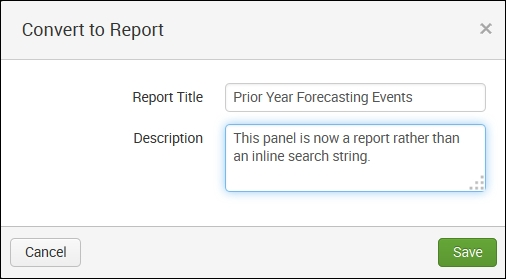Converting the panel to a report