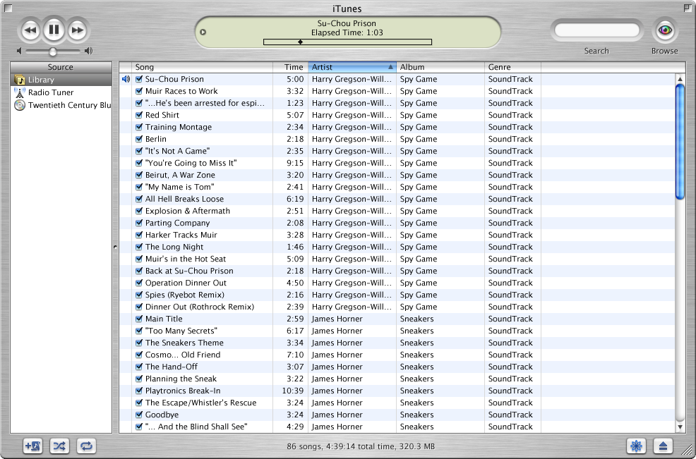 iTunes 1.0 browsing by Artist and Album (image: http://www.guidebookgallery.org/apps/itunes/playing)