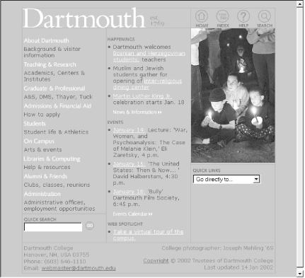 Dartmouth College's main page