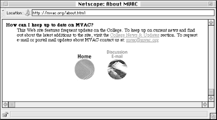 The MVAC Web site employs a very simple, icon-based global navigation system.