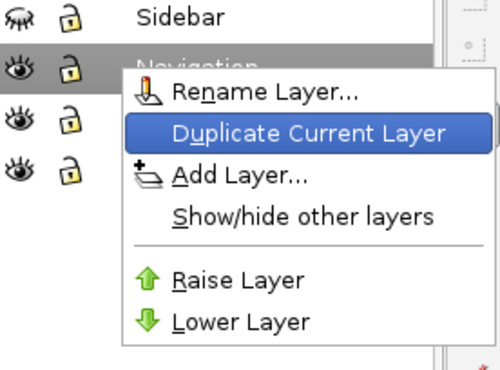 Time for action — duplicating layers