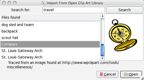 Time for action — using the Open Clip Art Library (Mac users only)