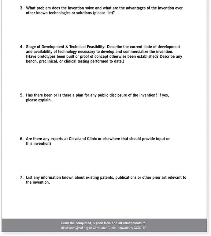 Appendix A: Invention Disclosure Form - Innovation the Cleveland ...