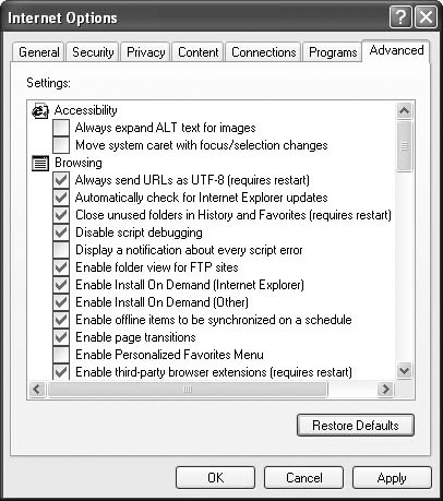 In the Internet Options dialog box, the Advanced tab contains a long list of Internet Explorer customization settings.