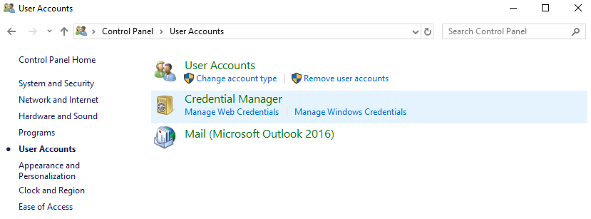 Accessing Credential Manager - Installing and Configuring