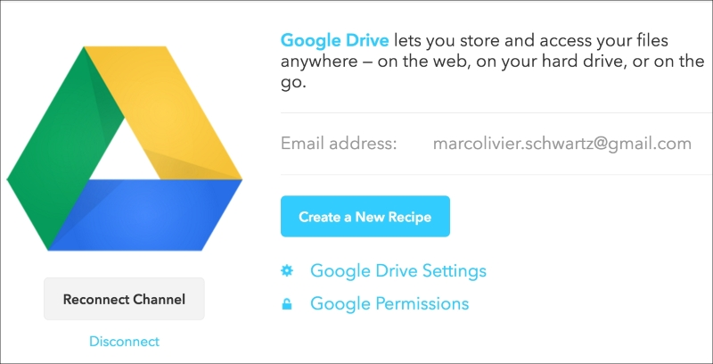 Storing data on Google Drive - Internet of Things with