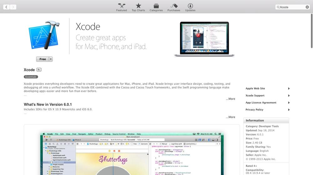 Xcode 6 in the Mac App Store