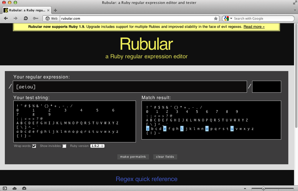 Character class with Rubular in the Opera browser